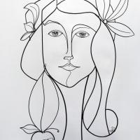 Eve-1-sculpture-wiresculpture-laure-simoneau-fil-de-fer-lor-femme-pomme-dieu-art-artiste-creation-6-jour-portrait-wire-commande-picasso-inspiration-honfleur-paris-sculpteur-fildeferiste