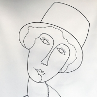 La-demoiselle-au-chapeau-1-sculpture-fildefer-portrait-modigliani-wire