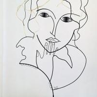 l'innocence-1-sculpture-lor-laure-simoneau-portrait-femme-or-fil-de-fer-wire-gold-poesie