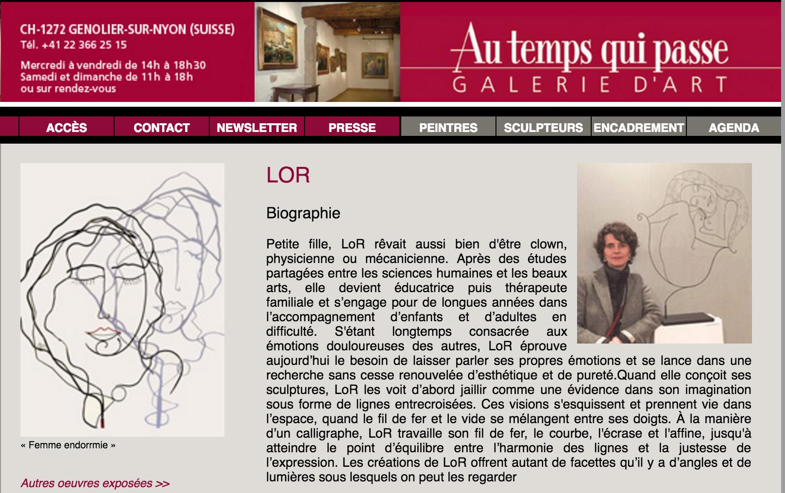 galerie suisse au temps qui passe lor laure simoneau exposition sculpture fil de fer wire